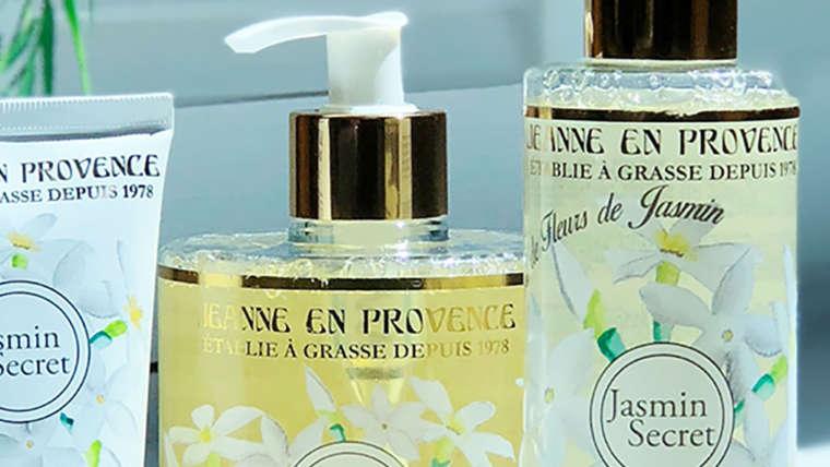 Produits Jeanne en Provence savon liquide gel douche crème mains gamme Jasmin Secret