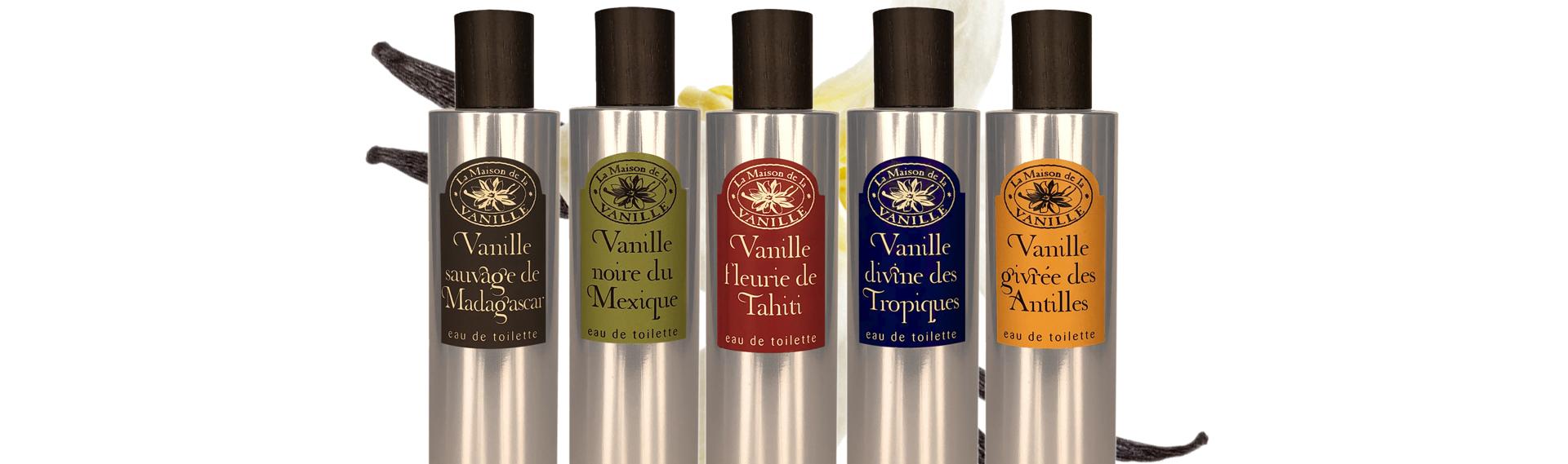 Présentation des cinq parfums de la maison de la vanille