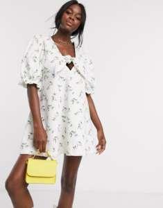 Asos robe blanche fleurie en denim