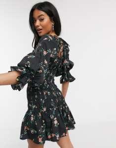 Asos robe fleurie noire en popeline