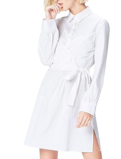 robe blanche en popeline de coton